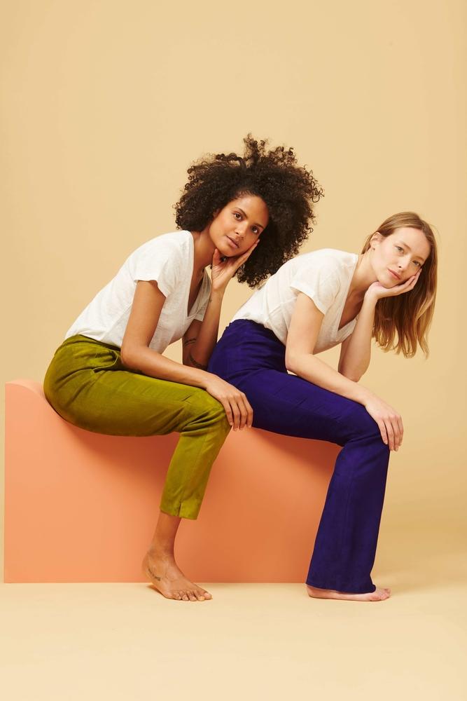 pantalon en cuir d'agneau h8li  vert et violet